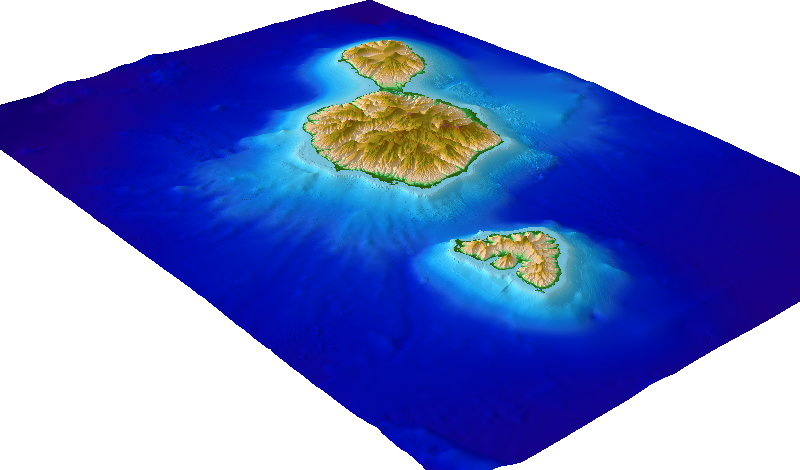 Society Islands French Polynesia coastal DEM perspective
