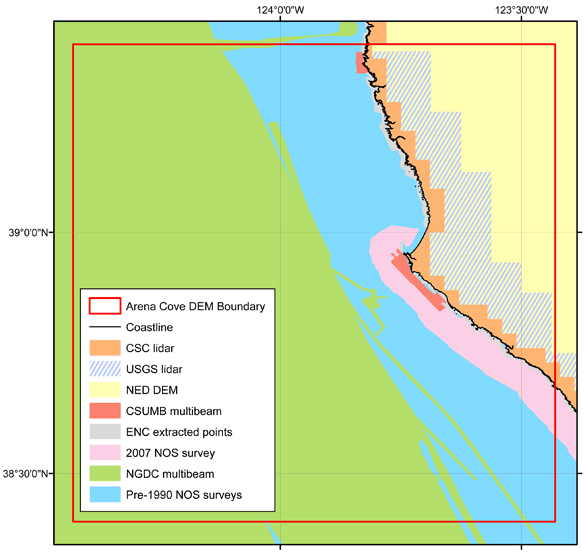 Spatial coverage of datasets used in DEM of Arena Cove, California.