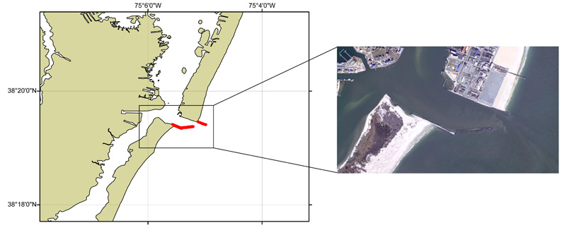 Example of hand-digitized breakwaters near Ocean City, Maryland DEM, shown in red. These breakwaters were not represented in any available topographic datasets.