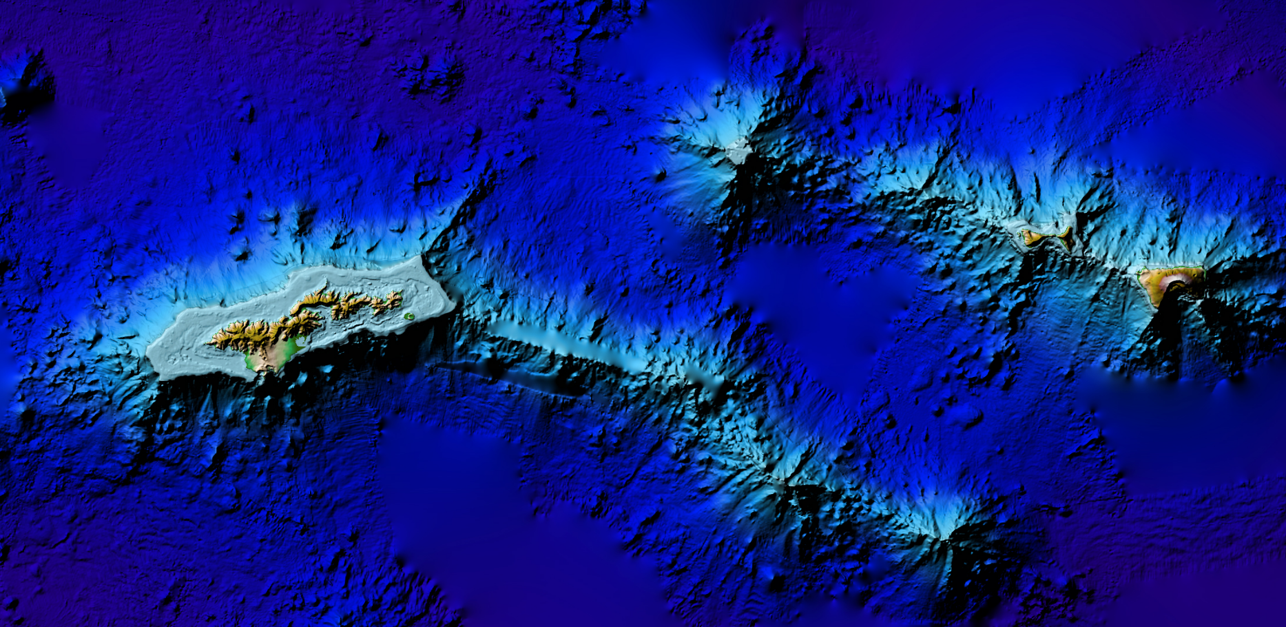 3D image of the 3 arc-second Pago Pago DEM, American Samoa.